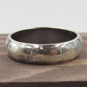 Size 10 Sterling Silver Rustic Simple Band Ring